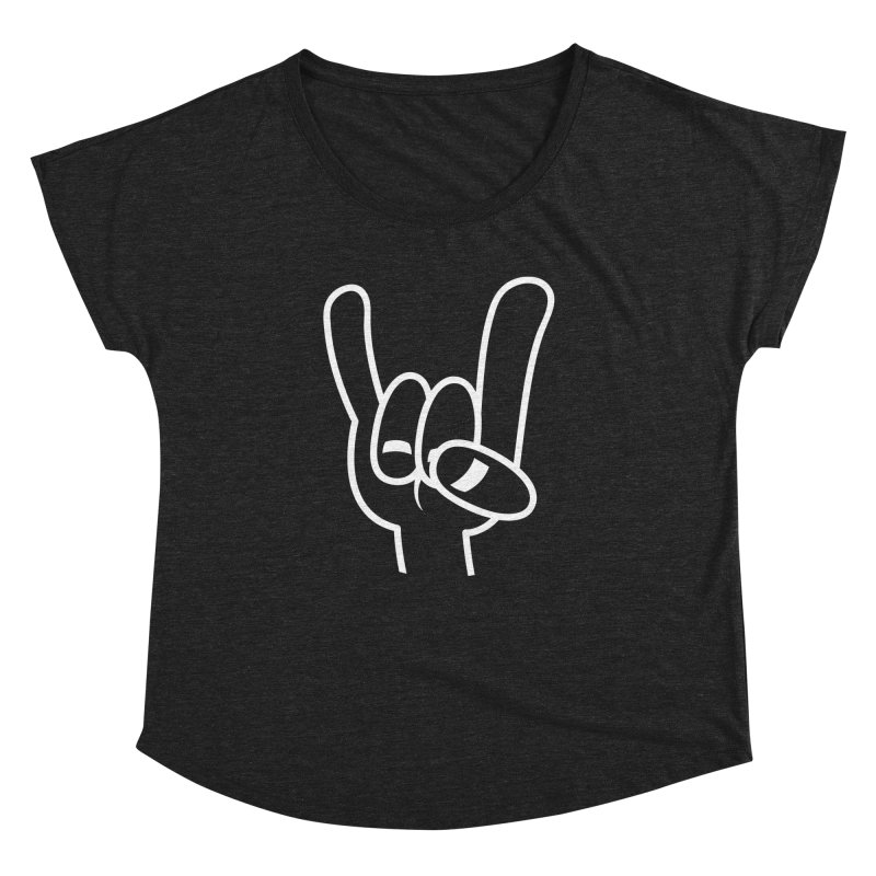 Heavy Metal Devil Horns White Line Women's Dolman Scoop Neck by Fizzgig's Artist Shop