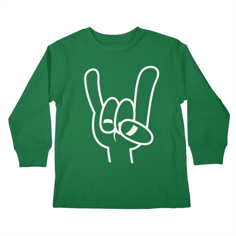 Heavy Metal Devil Horns White Line Kids Longsleeve T-Shirt by Fizzgig's Artist Shop