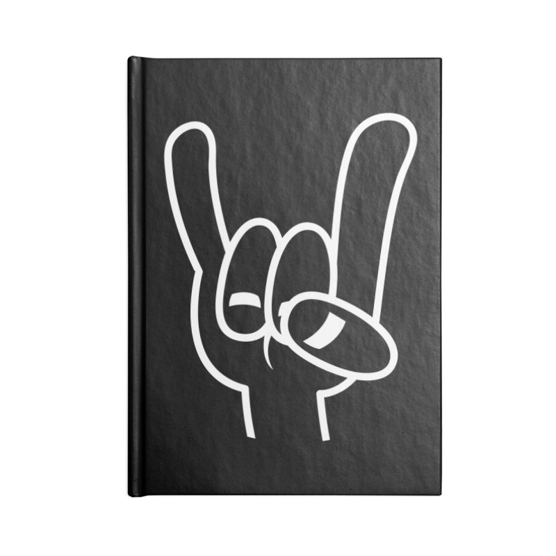 Heavy Metal Devil Horns White Line Accessories Notebook by Fizzgig's Artist Shop