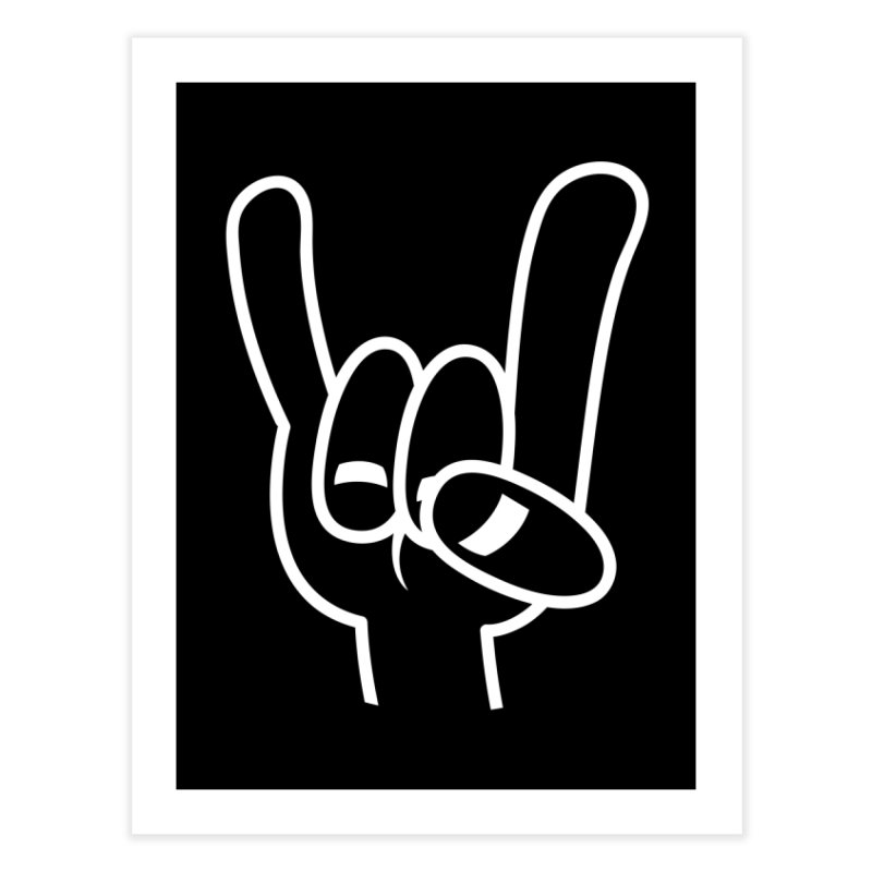 Heavy Metal Devil Horns White Line Home Fine Art Print by Fizzgig's Artist Shop