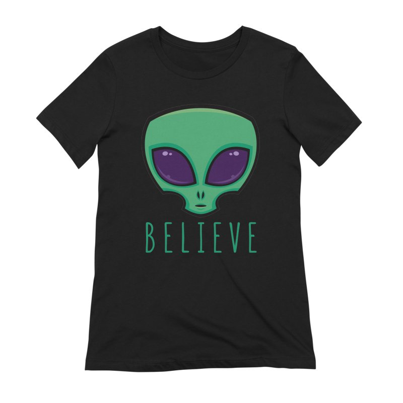 Believe Alien Head Women's Extra Soft T-Shirt by Fizzgig's Artist Shop