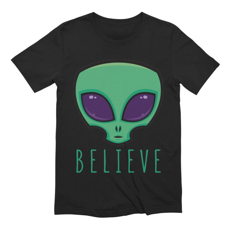 Believe Alien Head Men's Extra Soft T-Shirt by Fizzgig's Artist Shop