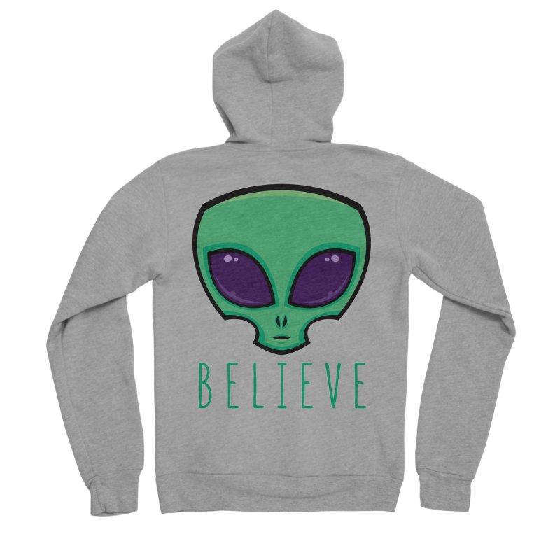 Believe Alien Head Men's Sponge Fleece Zip-Up Hoody by Fizzgig's Artist Shop