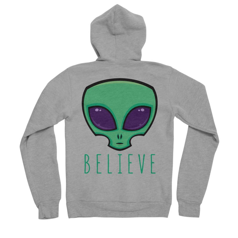 Believe Alien Head Women's Sponge Fleece Zip-Up Hoody by Fizzgig's Artist Shop
