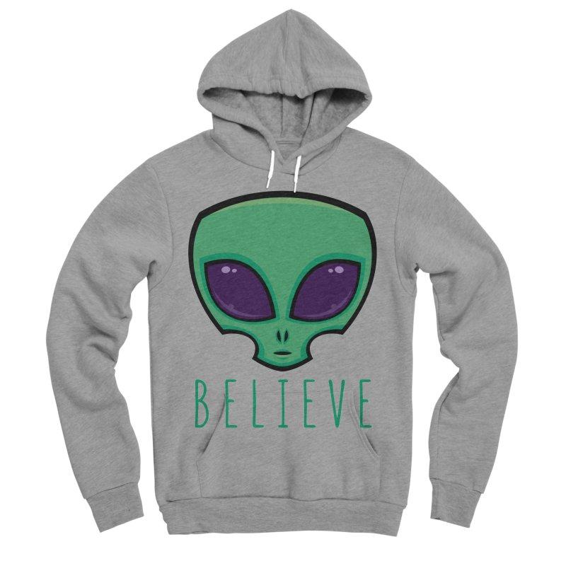 Believe Alien Head Women's Sponge Fleece Pullover Hoody by Fizzgig's Artist Shop