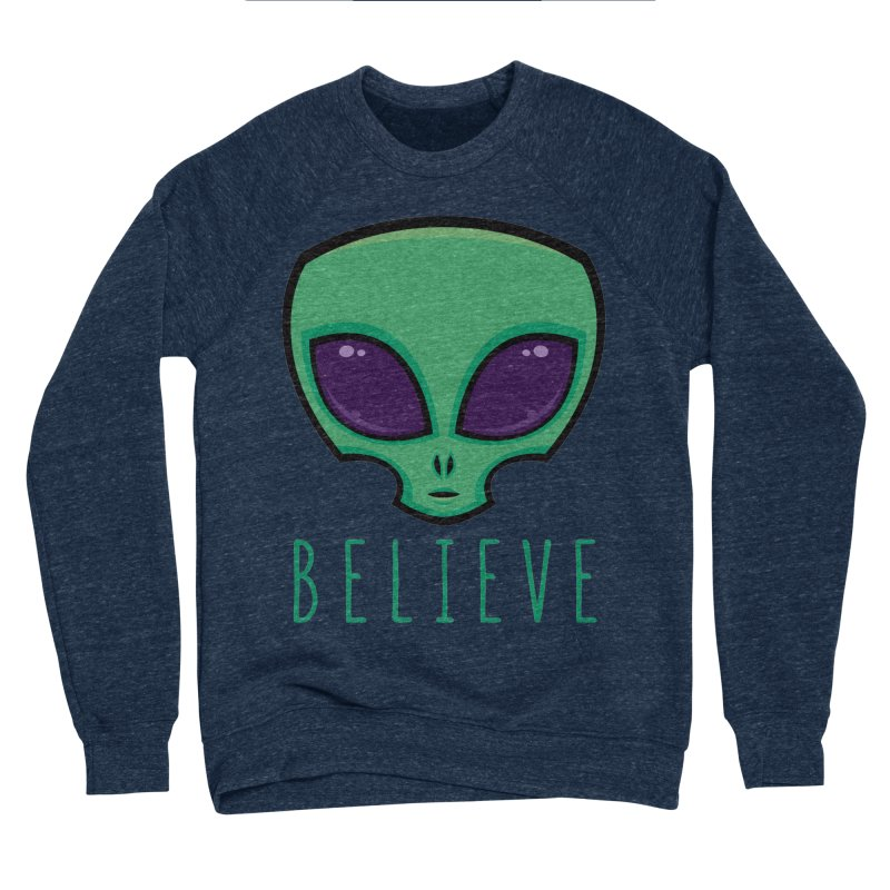 Believe Alien Head Men's Sponge Fleece Sweatshirt by Fizzgig's Artist Shop