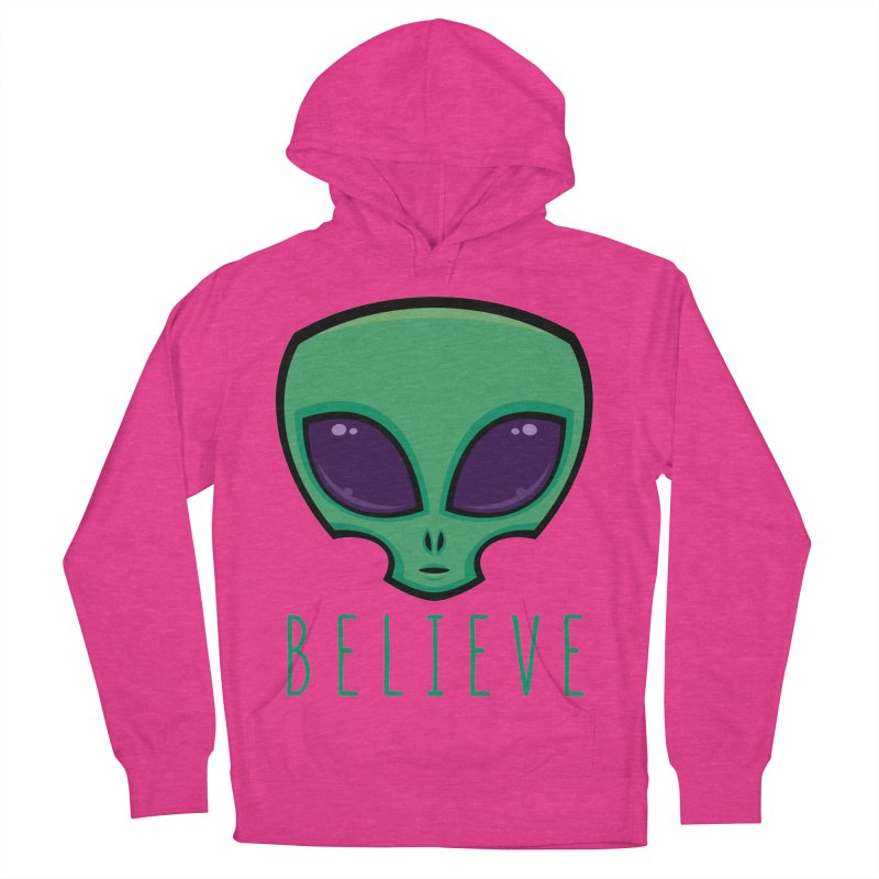 Believe Alien Head Men's French Terry Pullover Hoody by Fizzgig's Artist Shop