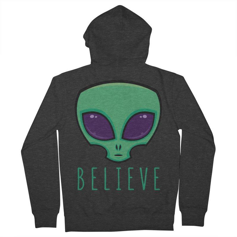 Believe Alien Head Men's French Terry Zip-Up Hoody by Fizzgig's Artist Shop