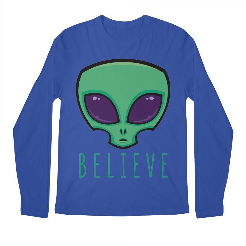 Believe Alien Head Men's Regular Longsleeve T-Shirt by Fizzgig's Artist Shop