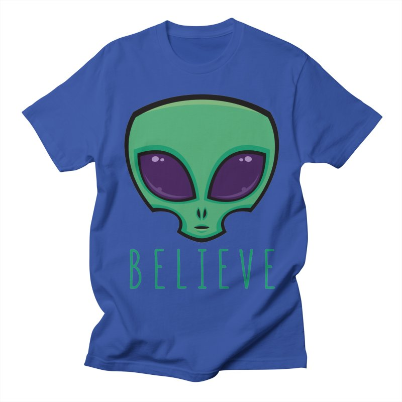Believe Alien Head Men's Regular T-Shirt by Fizzgig's Artist Shop