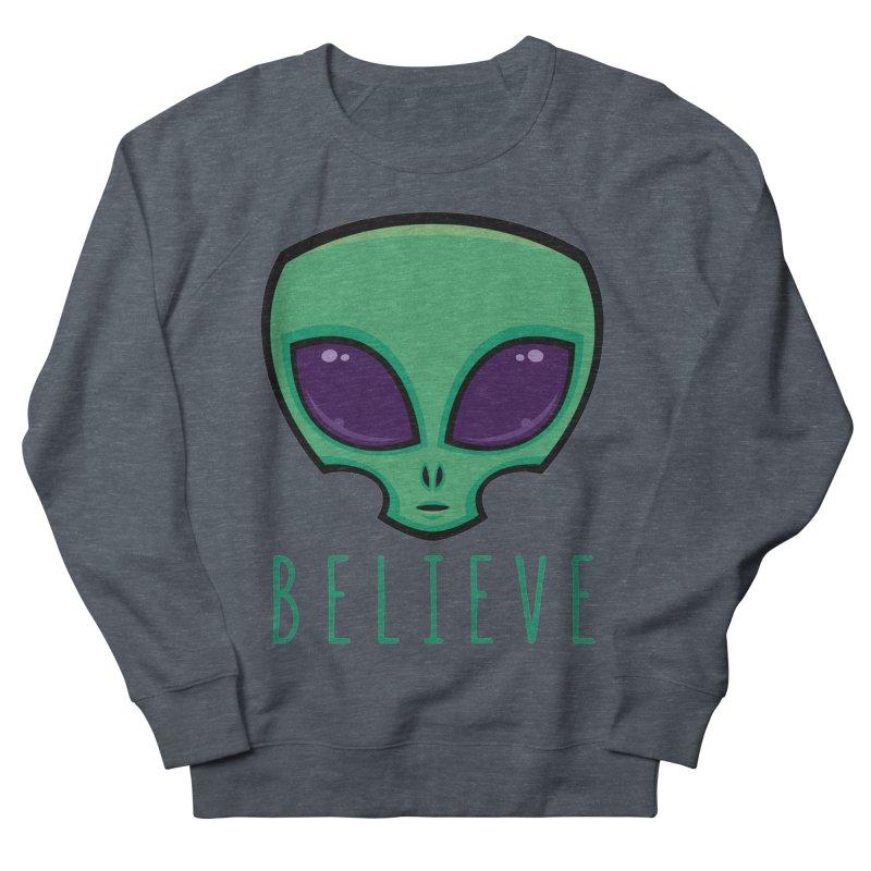 Believe Alien Head Women's French Terry Sweatshirt by Fizzgig's Artist Shop