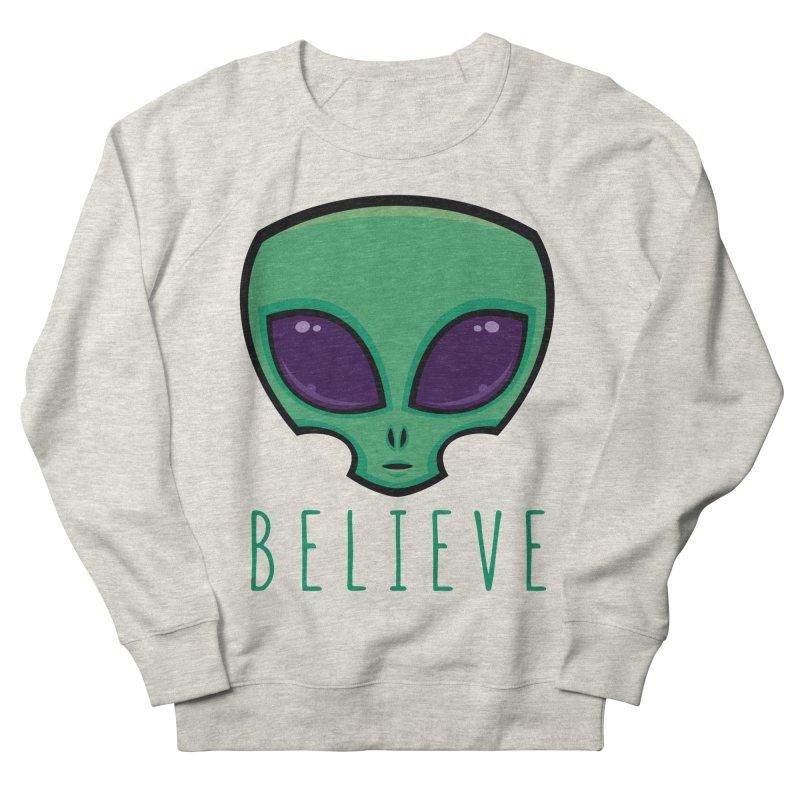 Believe Alien Head Men's French Terry Sweatshirt by Fizzgig's Artist Shop