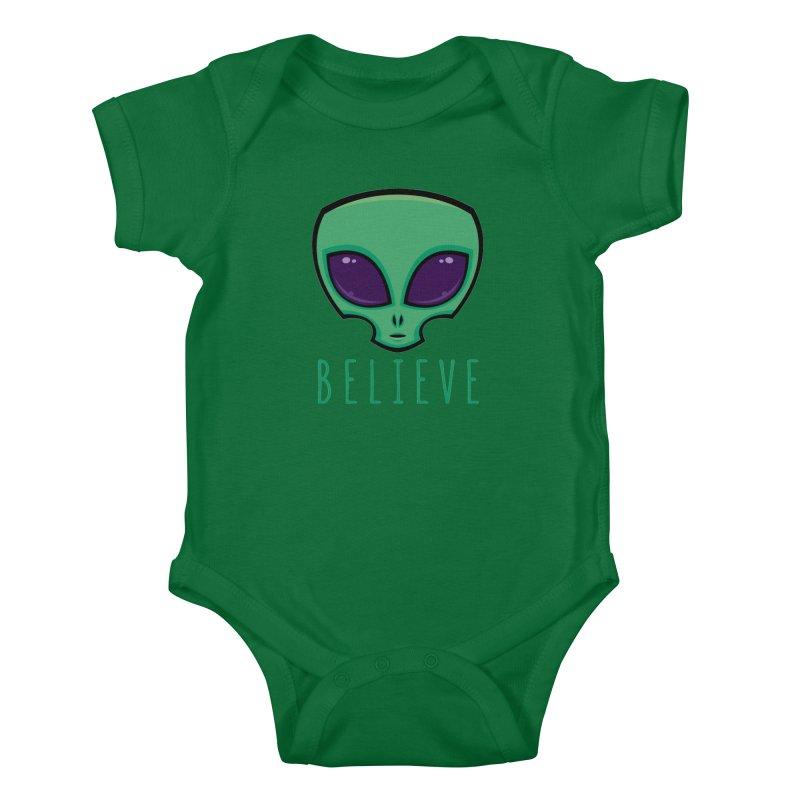 Believe Alien Head Kids Baby Bodysuit by Fizzgig's Artist Shop