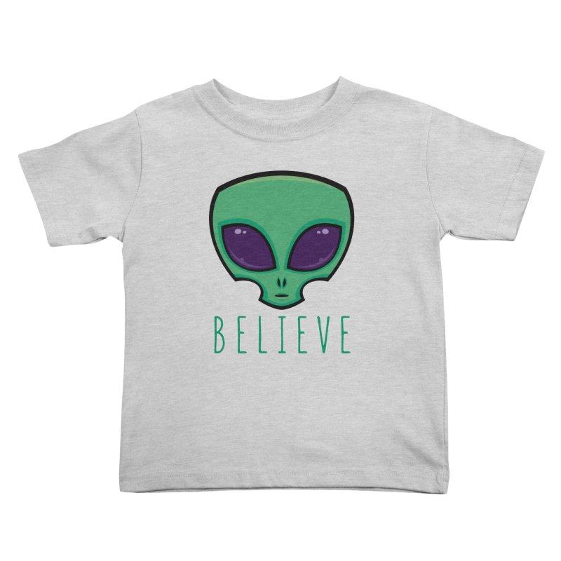 Believe Alien Head Kids Toddler T-Shirt by Fizzgig's Artist Shop