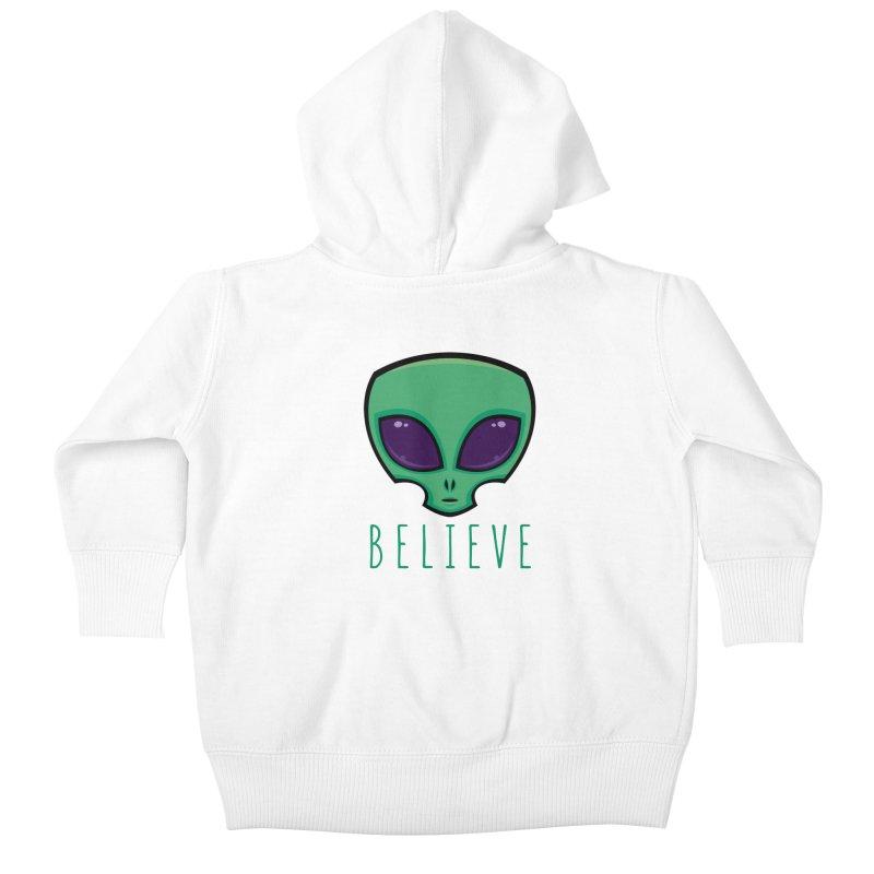 Believe Alien Head Kids Baby Zip-Up Hoody by Fizzgig's Artist Shop