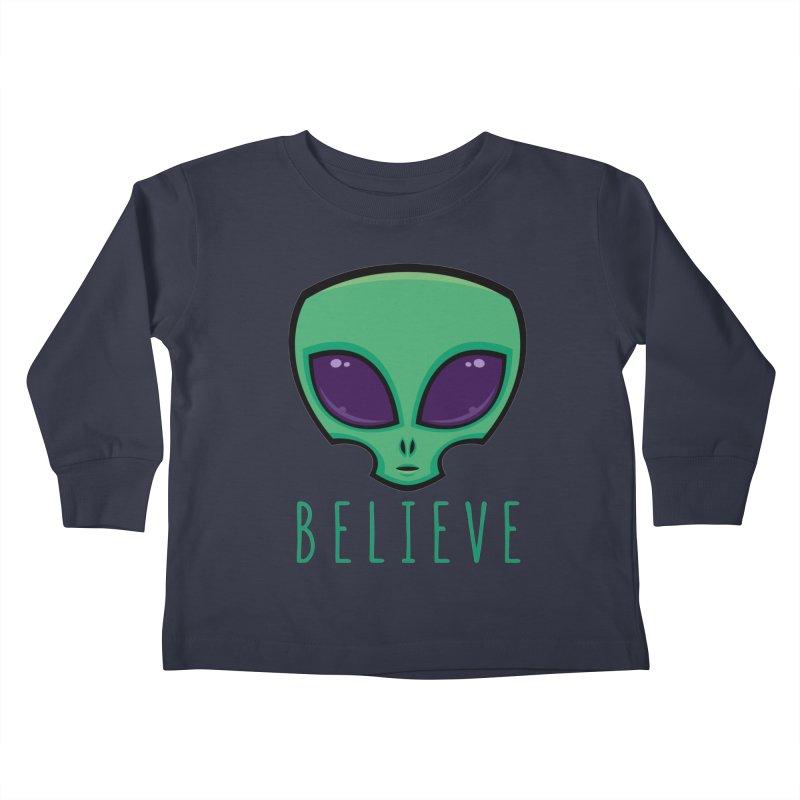 Believe Alien Head Kids Toddler Longsleeve T-Shirt by Fizzgig's Artist Shop