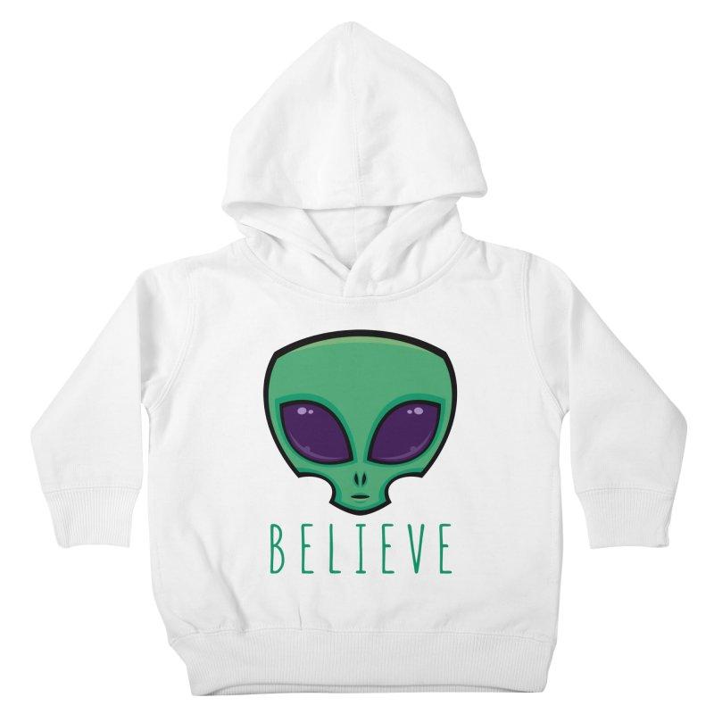 Believe Alien Head Kids Toddler Pullover Hoody by Fizzgig's Artist Shop