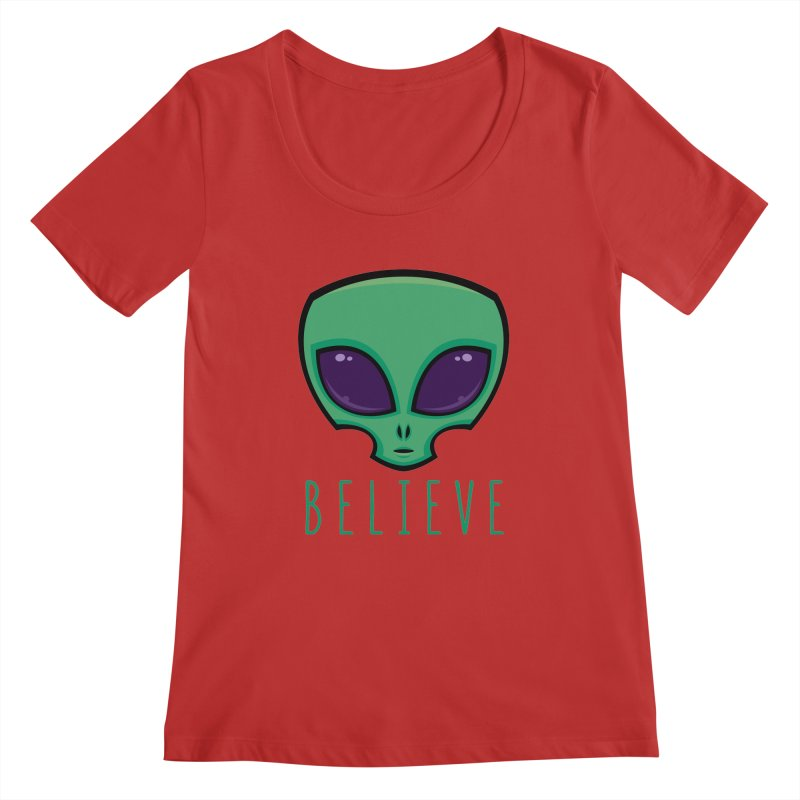 Believe Alien Head Women's Regular Scoop Neck by Fizzgig's Artist Shop