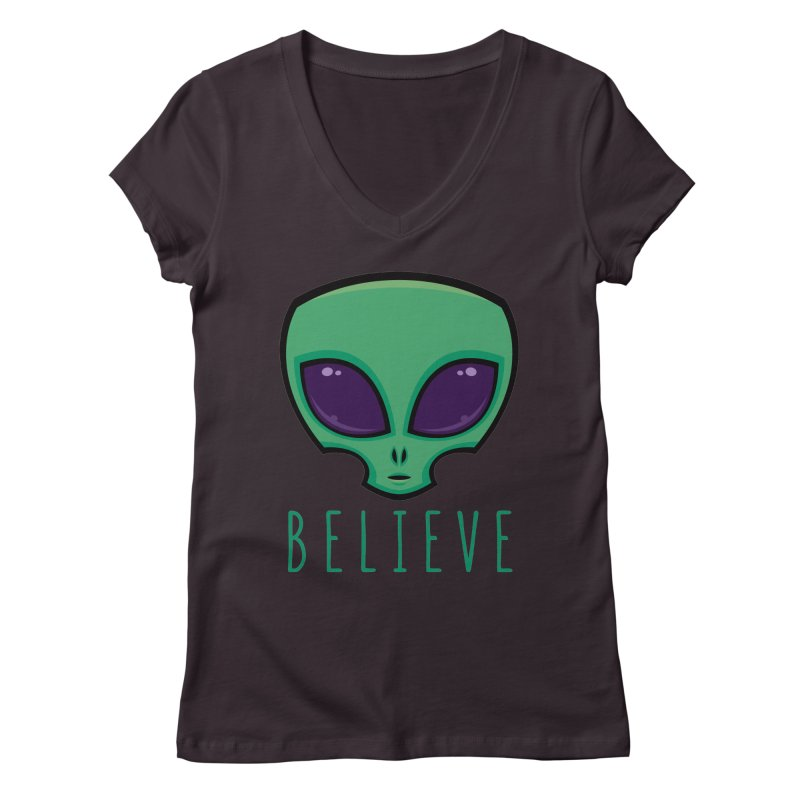 Believe Alien Head Women's Regular V-Neck by Fizzgig's Artist Shop
