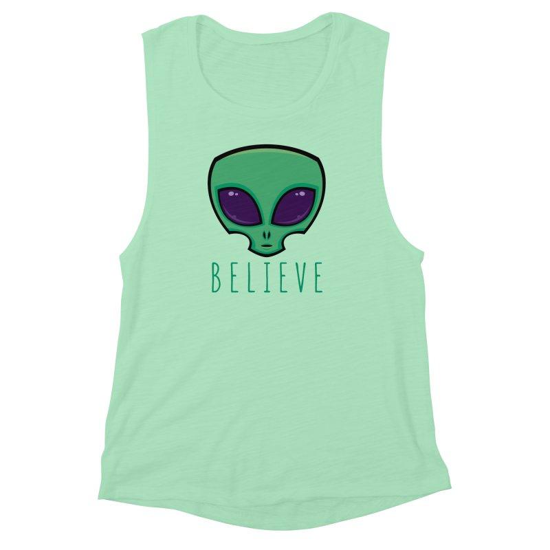Believe Alien Head Women's Muscle Tank by Fizzgig's Artist Shop
