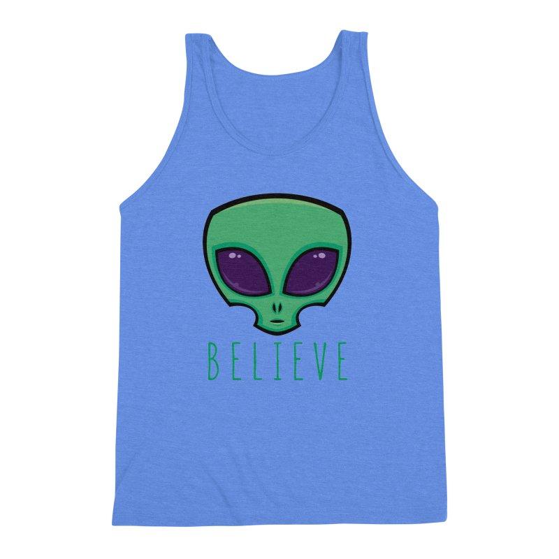 Believe Alien Head Men's Triblend Tank by Fizzgig's Artist Shop
