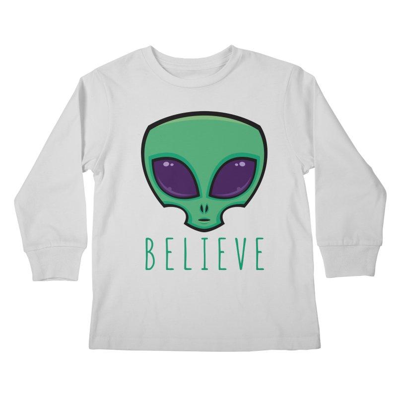 Believe Alien Head Kids Longsleeve T-Shirt by Fizzgig's Artist Shop