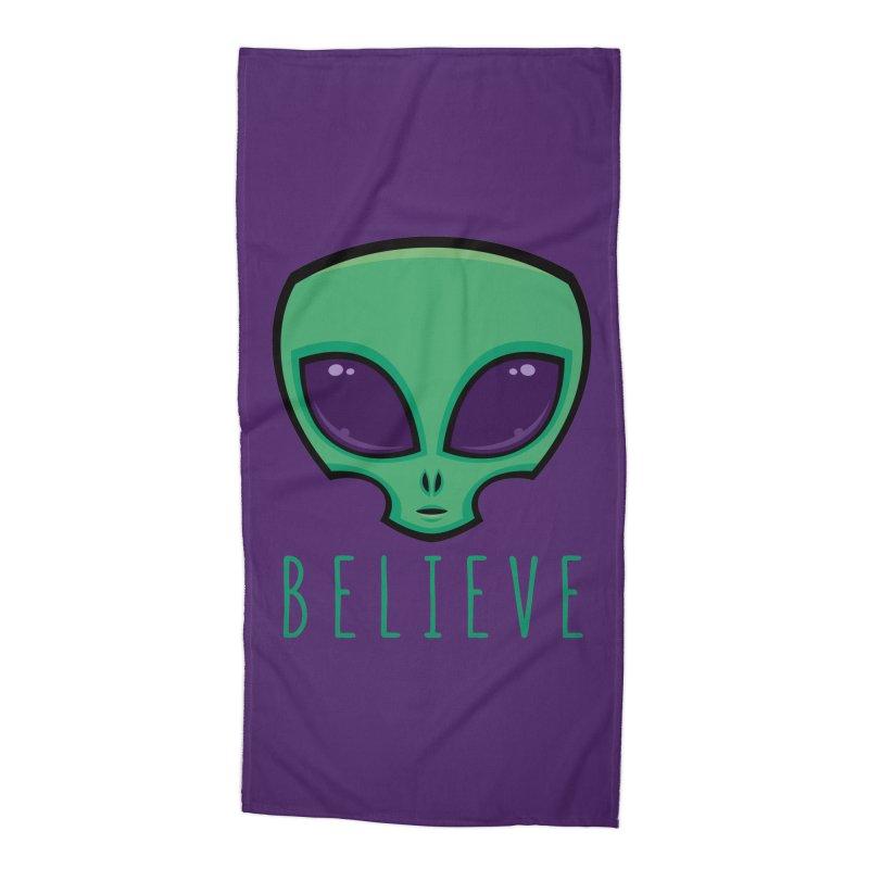 Believe Alien Head Accessories Beach Towel by Fizzgig's Artist Shop