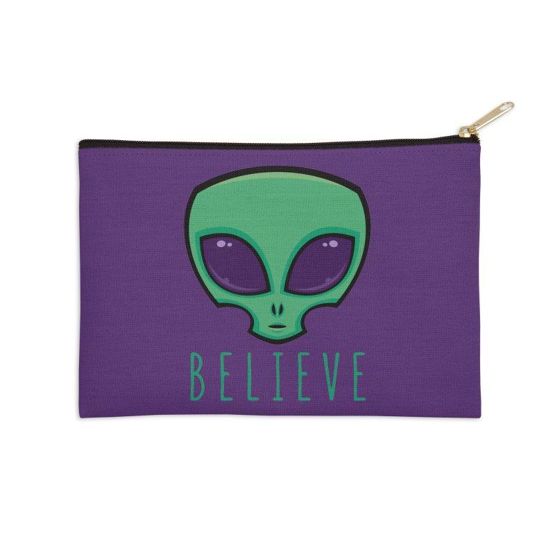 Believe Alien Head Accessories Zip Pouch by Fizzgig's Artist Shop