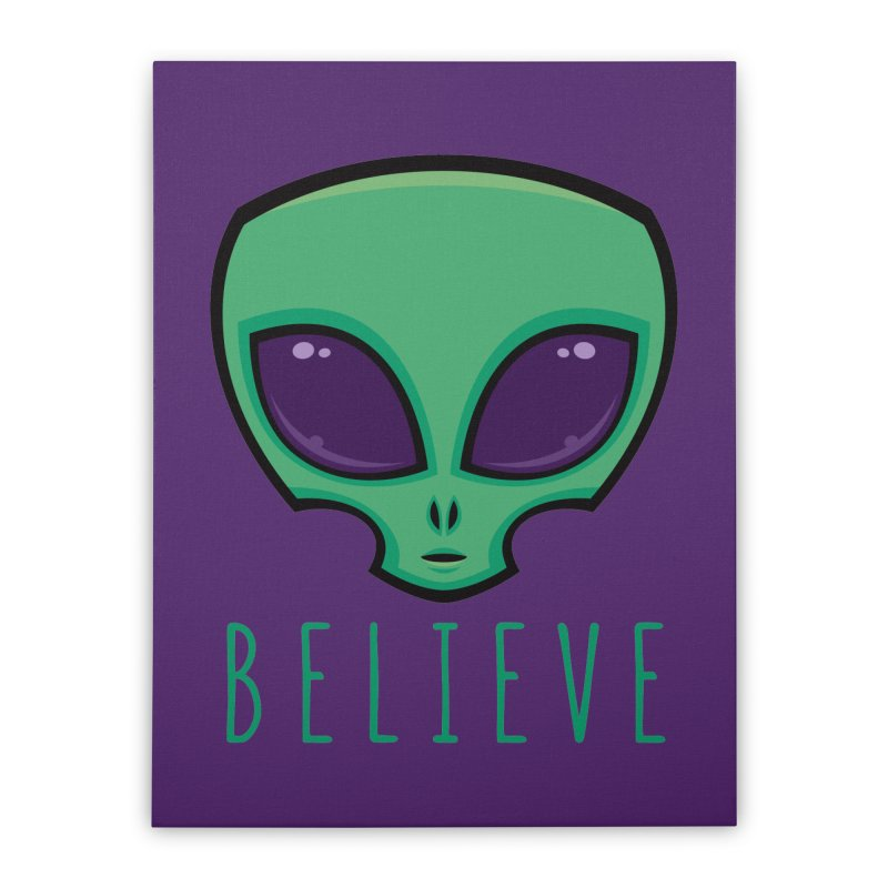 Believe Alien Head Home Stretched Canvas by Fizzgig's Artist Shop