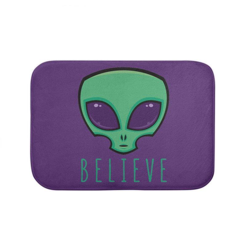 Believe Alien Head Home Bath Mat by Fizzgig's Artist Shop