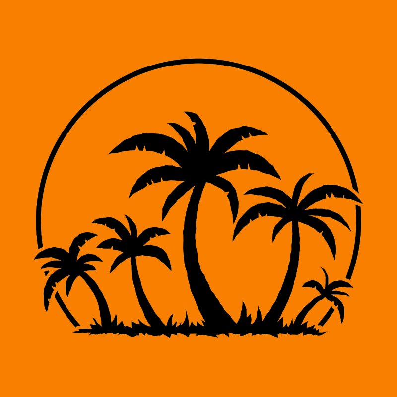 Palm Trees And Sunset in Black by Fizzgig's Artist Shop