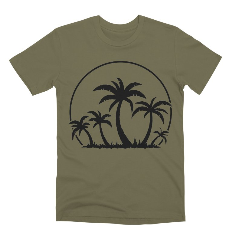 Palm Trees And Sunset in Black Men's Premium T-Shirt by Fizzgig's Artist Shop