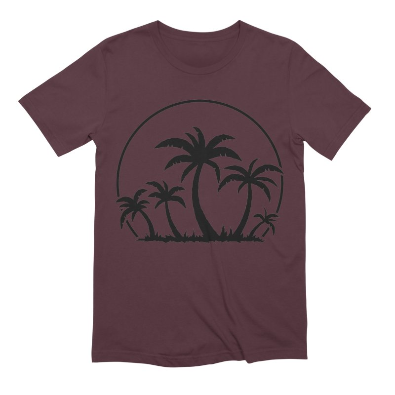 Palm Trees And Sunset in Black Men's Extra Soft T-Shirt by Fizzgig's Artist Shop