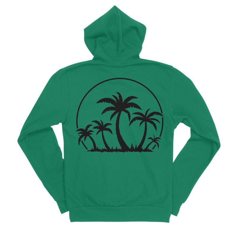 Palm Trees And Sunset in Black Men's Sponge Fleece Zip-Up Hoody by Fizzgig's Artist Shop
