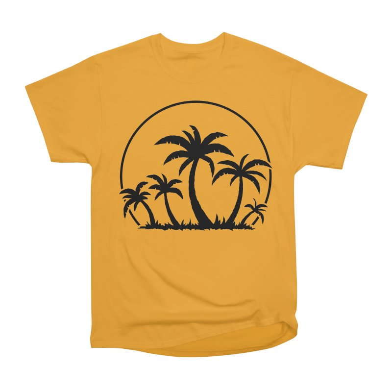 Palm Trees And Sunset in Black Men's Heavyweight T-Shirt by Fizzgig's Artist Shop