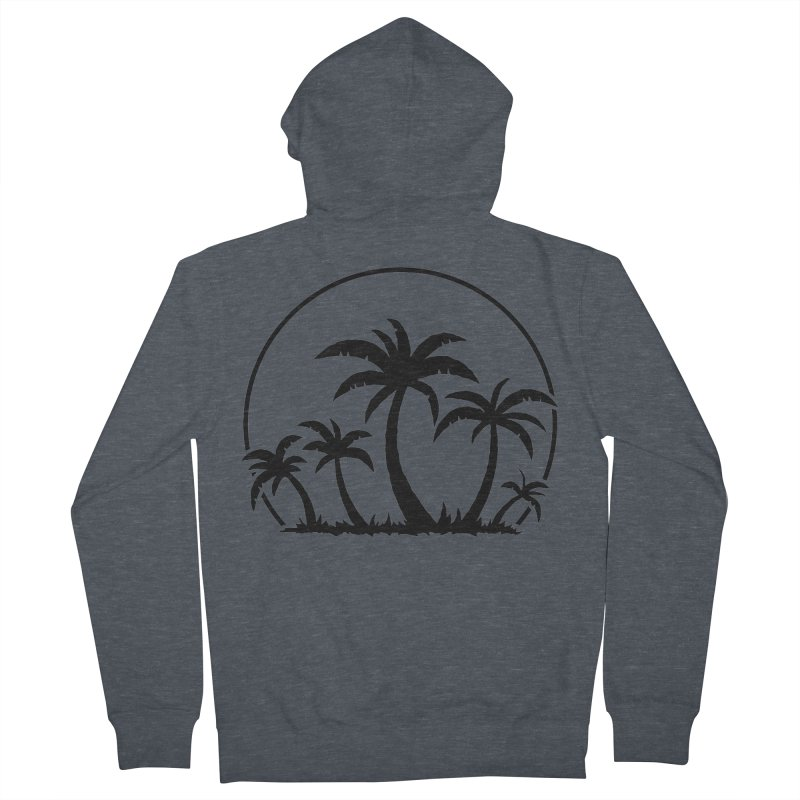 Palm Trees And Sunset in Black Men's French Terry Zip-Up Hoody by Fizzgig's Artist Shop