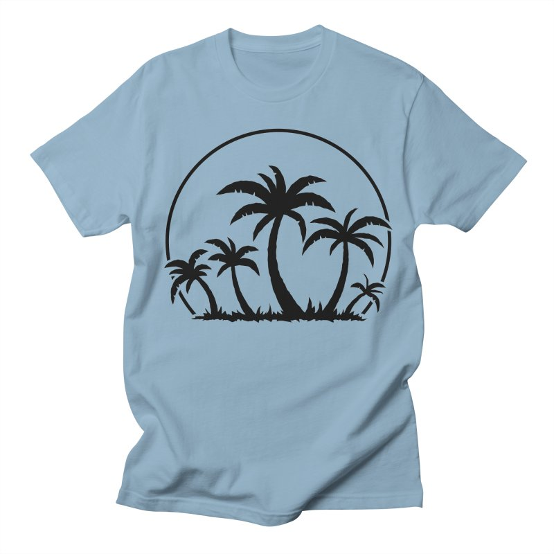 Palm Trees And Sunset in Black Men's Regular T-Shirt by Fizzgig's Artist Shop