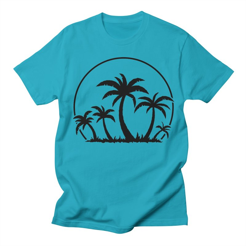 Palm Trees And Sunset in Black Women's Regular Unisex T-Shirt by Fizzgig's Artist Shop