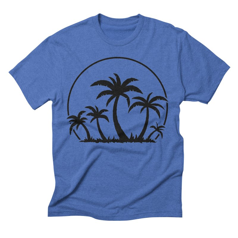 Palm Trees And Sunset in Black Men's Triblend T-Shirt by Fizzgig's Artist Shop