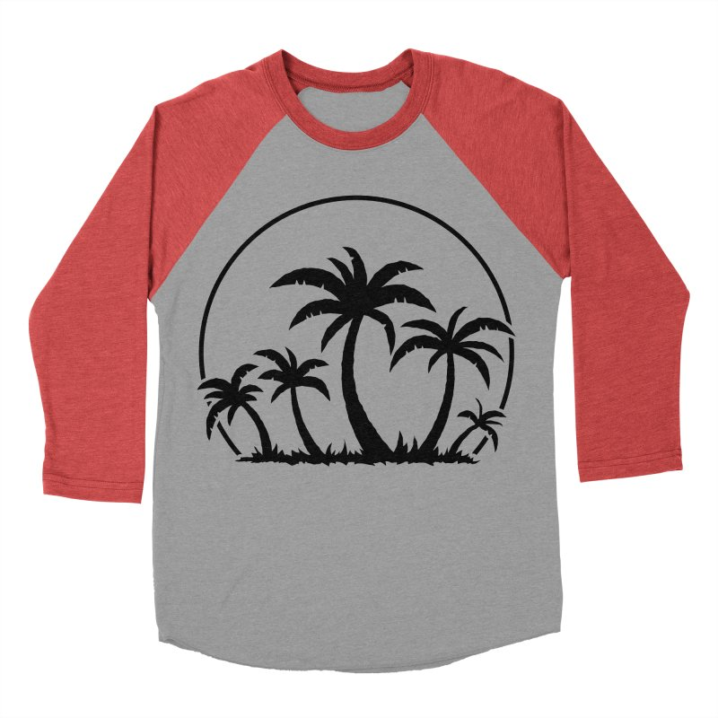 Palm Trees And Sunset in Black Men's Baseball Triblend Longsleeve T-Shirt by Fizzgig's Artist Shop
