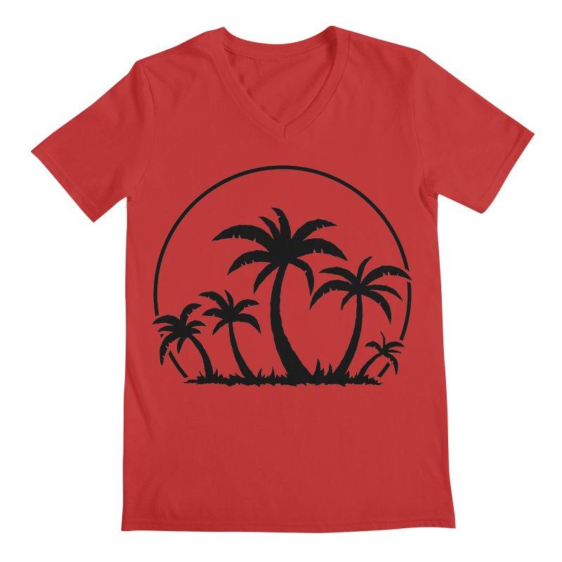 Palm Trees And Sunset in Black Men's Regular V-Neck by Fizzgig's Artist Shop