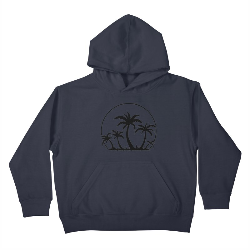 Palm Trees And Sunset in Black Kids Pullover Hoody by Fizzgig's Artist Shop