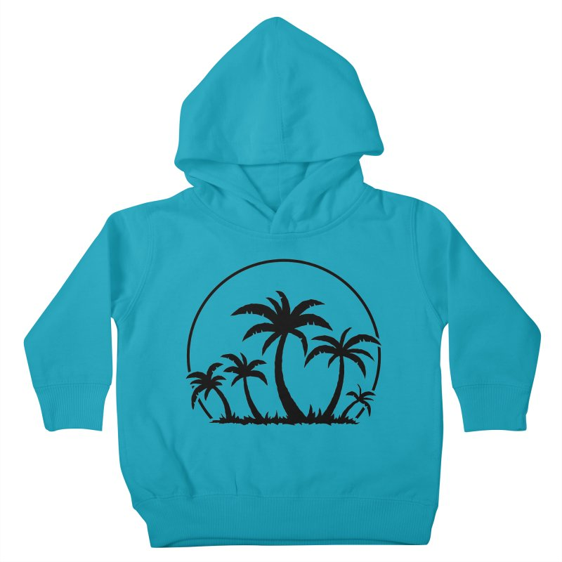 Palm Trees And Sunset in Black Kids Toddler Pullover Hoody by Fizzgig's Artist Shop