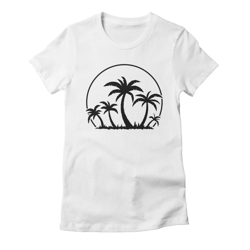 Palm Trees And Sunset in Black Women's Fitted T-Shirt by Fizzgig's Artist Shop