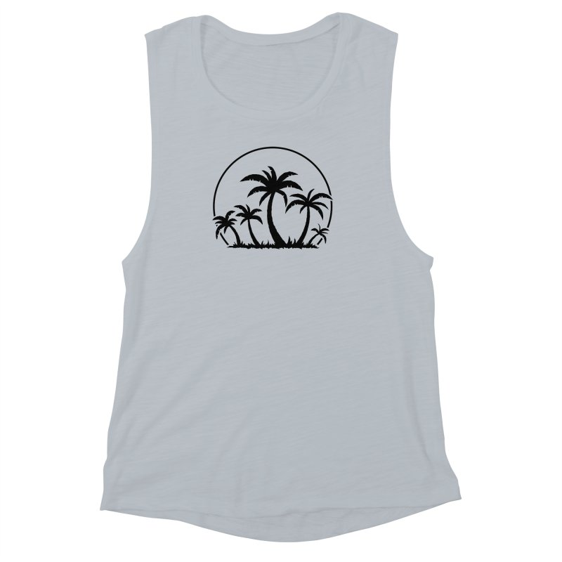 Palm Trees And Sunset in Black Women's Muscle Tank by Fizzgig's Artist Shop