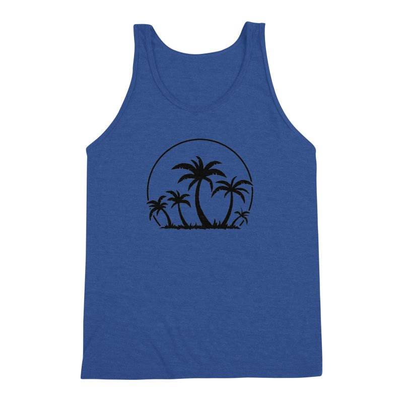 Palm Trees And Sunset in Black Men's Triblend Tank by Fizzgig's Artist Shop