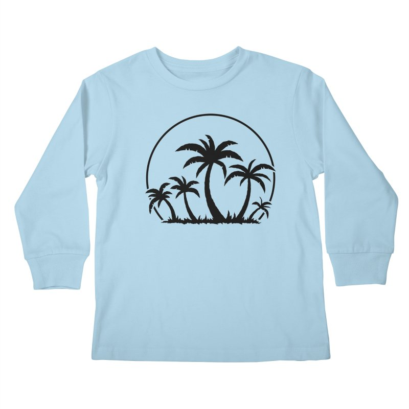 Palm Trees And Sunset in Black Kids Longsleeve T-Shirt by Fizzgig's Artist Shop
