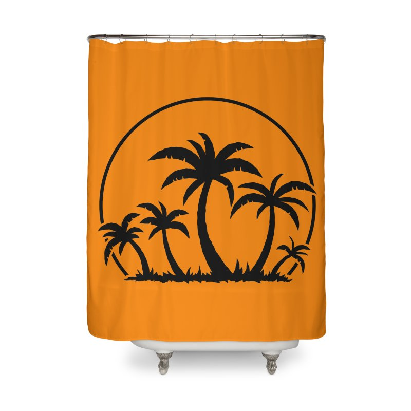 Palm Trees And Sunset in Black Home Shower Curtain by Fizzgig's Artist Shop