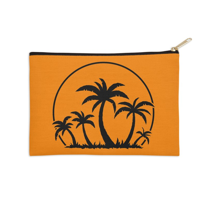 Palm Trees And Sunset in Black Accessories Zip Pouch by Fizzgig's Artist Shop