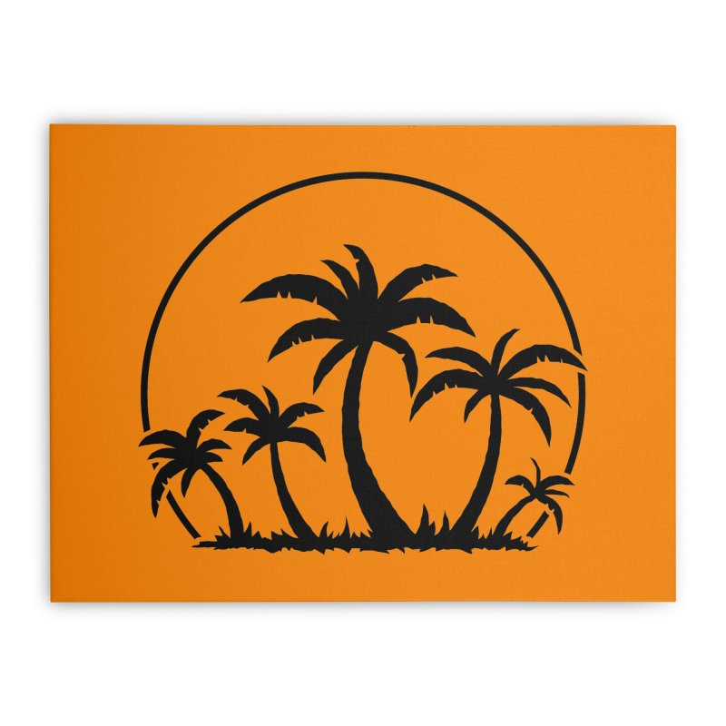Palm Trees And Sunset in Black Home Stretched Canvas by Fizzgig's Artist Shop